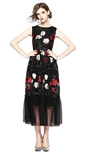 Womens Sleeveless Allover Floral Embroidered Sheer Mesh Evening Cocktail Dress Black