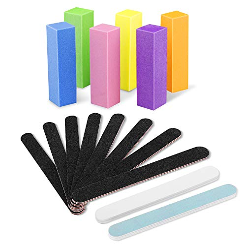 Nail Files and Buffer Set, 16 Pcs Professional Manicure Tools Kit, Double Sides 100/180 Grit Emery Board Rectangular Art Care Buffer Block Polisher for Natural and acrylic nails