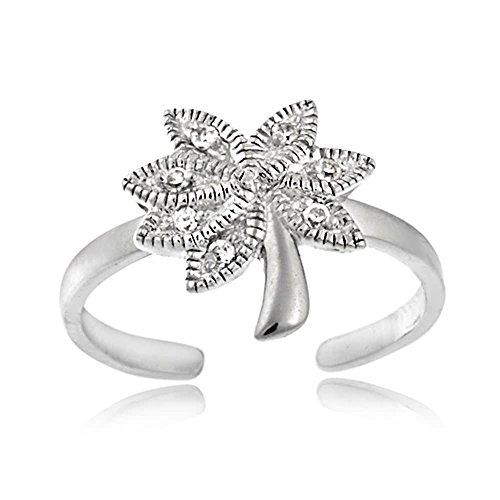 Hoops & Loops Sterling Silver Cubic Zirconia Palm Tree Toe Ring