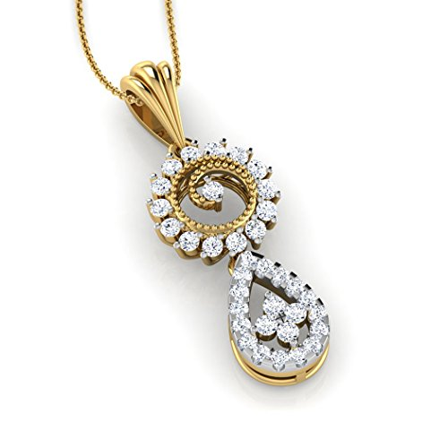 18 K Or Blanc 0,38 CT TW Round-cut-diamond (IJ | SI) Pendentif