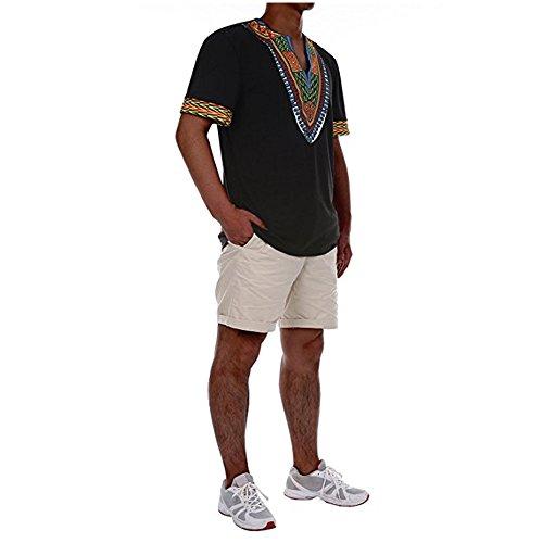 Gtealife Men's African Print Dashiki T-Shirt Tops Blouse (1-Black, XXL) by Gtealife (Image #1)
