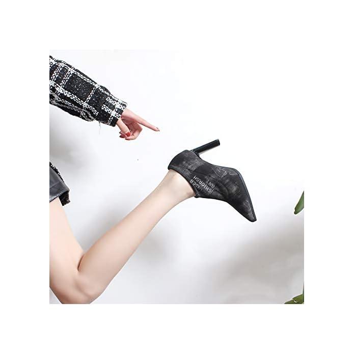 Kphy Damenschuhe a Breve Gli Stivali Con Alto 8cm Affilato Sottile Tallone Primavera E Autunno Solo Tubo Piccola Canaglia Invernali trentaquattro Black