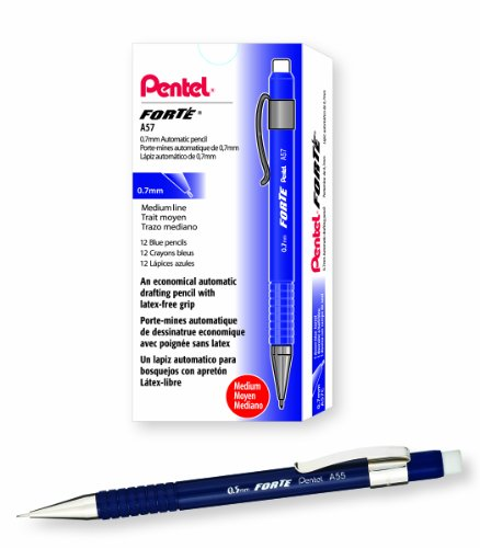 (Pentel Forté Automatic Pencil, 0.7mm, Blue Barrel, Box of 12 (A57C))