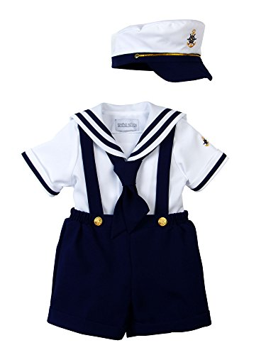 Spring Notion Baby Boys Sailor Set with Hat Style-A Extra Large/18-24M, Navy Blue -