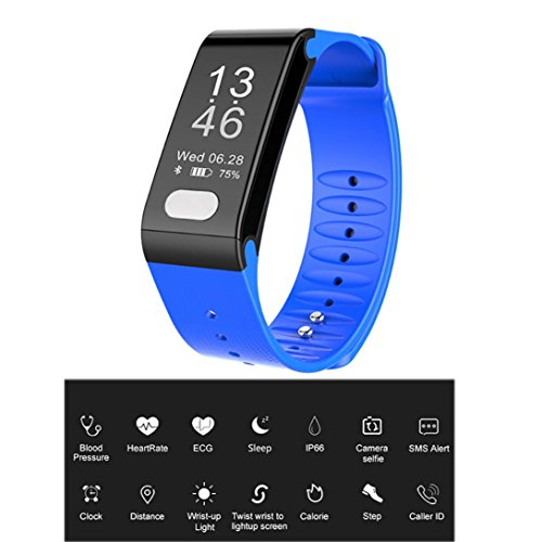 Sonmer Smart Fitness Tracker, Waterproof Smart Wristband with Calorie Burnt Counter Sleep Quality Heart Rate ECG Blood Pressure SMS Alert Clock Wrist-up Light Camera Selfie Function (Blue) by Sonmer