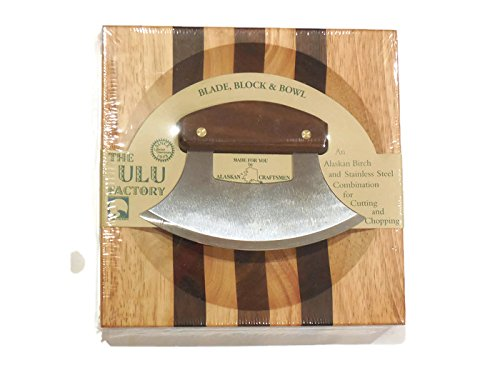 Design Mincing Board (Alaska Ulu Knife Walnut Handle And Chopping Bowl Set. This Ulu Knife Can Be Used As Mezzaluna Chopper, Bolo Rolling Knife And Chopped Salad Tool. Perfect Valentines Day Gift.)