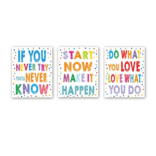 CHDITB Unframed Watercolor Inspirational Quotes Wall Art Print Colorful Saying with Polka Dots Painting, Set of 3(8
