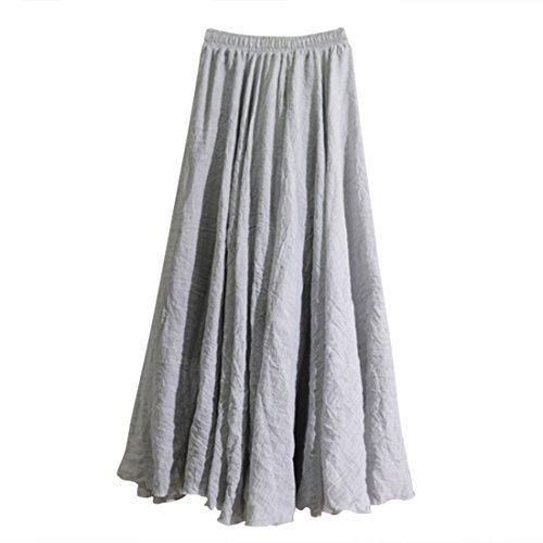 en longue pour double Taille lin Clair Gris et Jupe coton femme Jupe maxi paisseur Nlife lastique wBxgqOIR