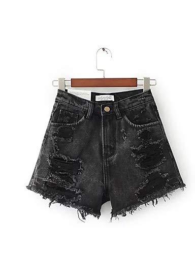 YFLTZ Pantalon Jeans Street Chic pour Femme - Couleur Unie Black