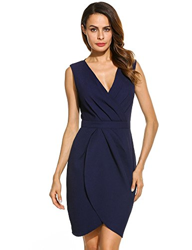 Hufcor Women Elegant Draped Wrap Front V-Neck Sleeveless Party Short Dress at Amazon Womens Clothing store: