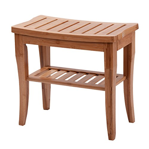 Bamboo Shower Seat Bench Bathroom Spa Organizer Stool with Storage Shelf