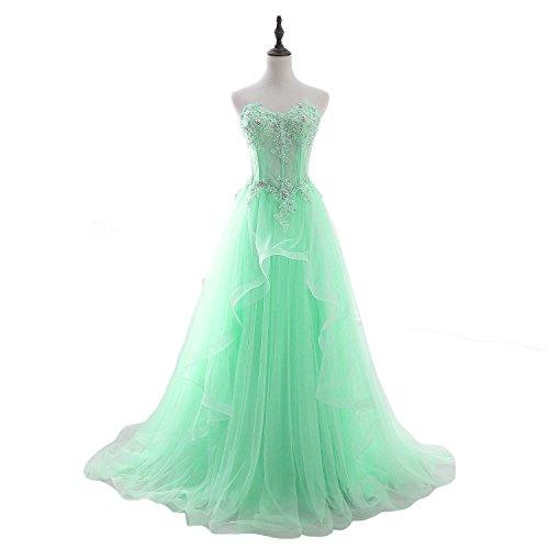 FTBY Women's Tulle Long Prom Dresses Printed Beaded Evening Dresses Bridemaid Dresses 210 MintGreen-24