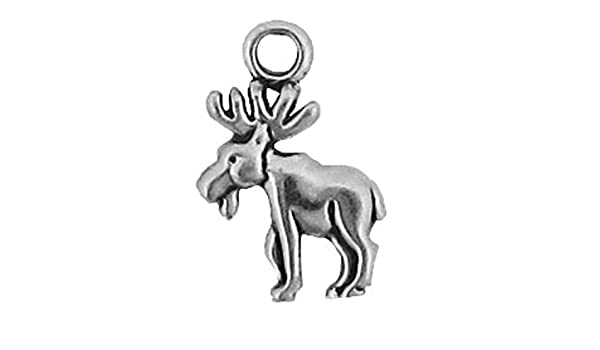 Sterling Silver Womens 1mm Box Chain 3D Small Moose Antlers Pendant Necklace