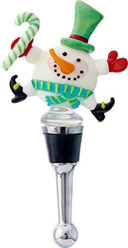 Snowman Wine Stopper - LS Arts Happy Dancing Snowman Winter Wine Bottle Stopper