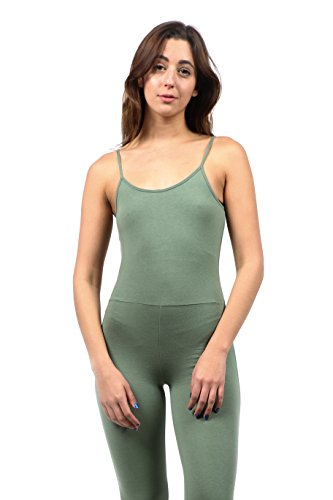 (The Classic Women's Spaghetti Strap Full Length Catsuit Jumpsuit Rompers Playsuit in Sage - Medium)