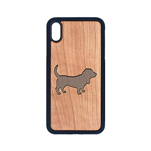 Basset Hound Silhouette - iPhone Xs MAX CASE - Cherry Premium Slim & Lightweight Traveler Wooden Protective Phone CASE - Unique, Stylish & ECO-Friendly - Designed for iPhone Xs MAX
