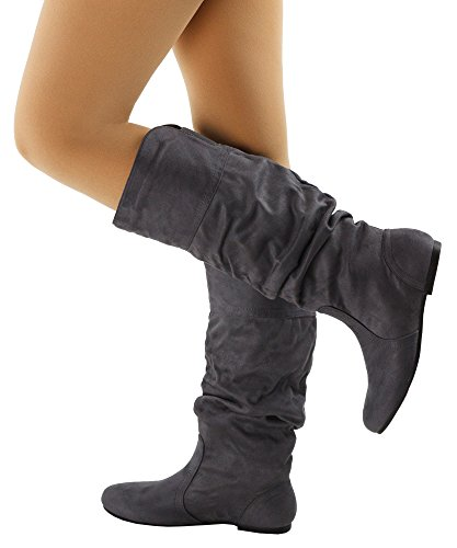 RF ROOM OF FASHION Frauen weiche Vegan Slouchy flach bis niedrige Ferse kniehohe Stiefel - mit versteckter Tasche - mittleres und breites Kalb Graues Wildleder - Mittleres Kalb