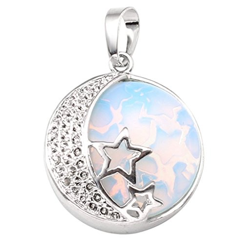 Jovivi Natural Gemstones Moon and Star Healing Crystal Chakra Pendant Necklace with 21.5in Stainless Steel Chain