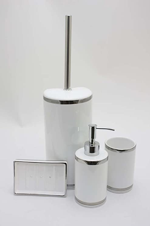 Flair 998526/1 - Set de accesorios 5 piezas, cerámica), color blanco con rayas plateadas | con WC Cepillo + Cepillos de repuesto + Dispensador de jabón + ...