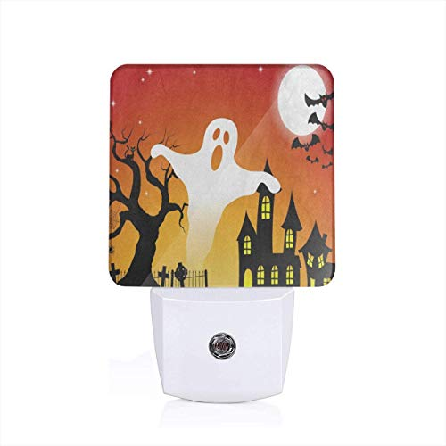 Halloween Ghost Tree Moon Plug-in Night Light Warm White LED Nightlight with Auto Dusk to Dawn Sensor, Perfect for Kids Room, Hallway, Bedroom, Kitchen, Bathroom -