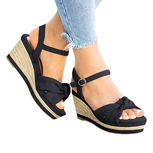 (Ermonn Womens Wedge Espadrilles Platform Sandals Open Toe Buckle Ankle Strap Summer Slingback Shoes Black )