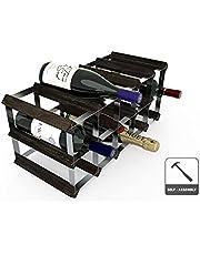 RTA Wijnrek voor 15 flessen, hout, zwart, B 52 x H 23 x D 23 cm