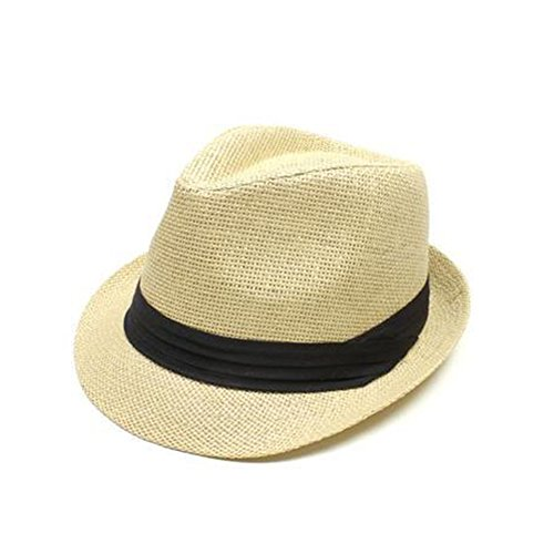 Opromo Men & Women's Summer Short Brim Straw Trilby Fedora Hat with Solid Band-Beige-48PCS by Opromo