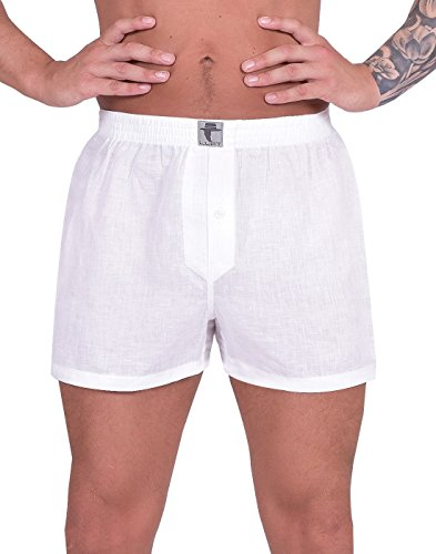 - LUFT Mens Boys Man Linen Soft Stretch Comfortable Comfort Elastic Waistband Breathable Cool Low Rise Classic Functional Seamless Casual Trunks Briefs Underpants Underwear Boxer Shorts, White Medium