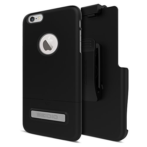 Seidio SURFACE with Metal Kickstand Case & Holster Combo for iPhone 6 Plus/6s Plus - Non-Retail Packaging - Black/Gray ()