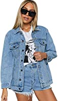 Honeyuppy Denim Jacket for Women Oversized Vintage Washed Long Sleeve Classic Loose Casual Jean Trucker Jacket