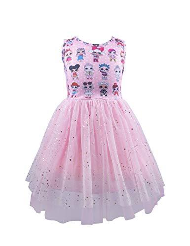 Girls Tulle Tutu Dress LOL Doll Surprise Dress Sleeveless Princess Party Wedding Sundress Pink 6-7T
