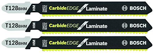 Laminate Cutting Blades - Bosch T128BHM3 3 Pc. 3.62 In. 14 TPI Carbide Teeth T-Shank Jig Saw Blades for Laminates