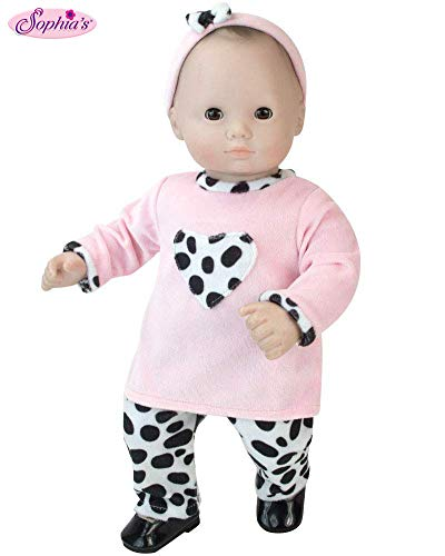 Sophia's 15 inch doll Clothing 3 Pc. Set of Pink and Dalmatian Print Fits 15 Inch American Girl Bitty Baby Dolls & More! Baby Doll Clothes Set with Dalmatian Print -