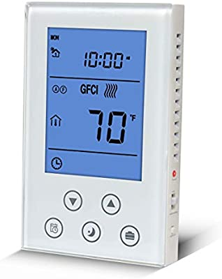 Radiant Underfloor Heating Thermostat 120 240v Dual Voltage Lcd Display Programmable Build In Gfci With Air And Floor Sensor Amazon Com