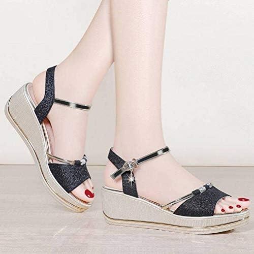 Women Sandals Chaussures Étudiantes Bohémiennes D'Été, Black, 37