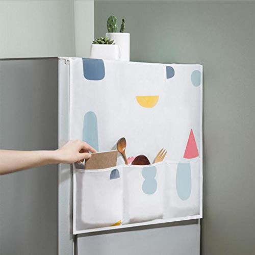 Refrigerator Covers - Waterproof Refrigerator Cover Dust With 6 Pockets Storage Bag Holder Household Washing Machine - Doors Black Matte For Inside Handle Outside Magnetic Magnet Stainless