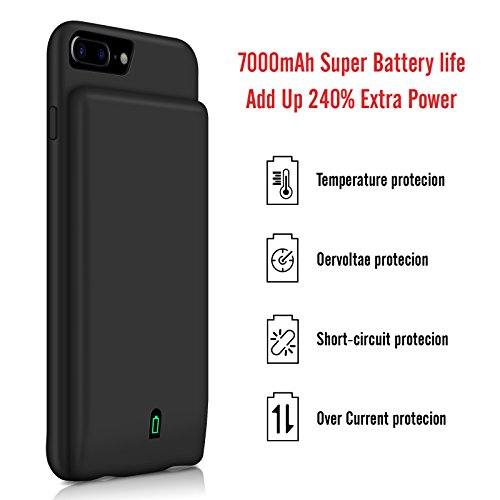 iPhone 8 Plus 7 Plus 6 Plus Battery court case YISHDA 7000mAh Rechargeable Extended Battery Backup power Bank Protective Charger court case Cover for iPhone 8 Plus 7 Plus 6S 6 Plus 55 inch aid Headphones Battery Charger Cases