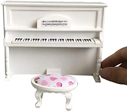 FILOL 1:12 Novelty DIY Black Upright Piano Ornament Kit Miniature Toy Dollhouse Accessories Decor Casual Paly Things Dollhouse Furniture for Boys Toddlers Pre-K Girls