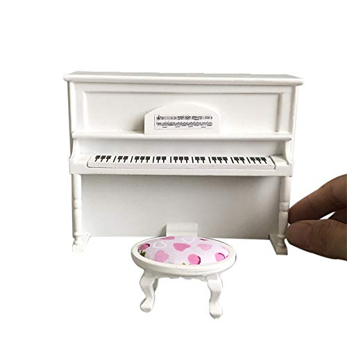 Ouniman 1:12 Dollhouse Miniature Wooden Piano Bench Accessories Black Pink Mini Doll House Instrument Model Decoration Cute Bedroom Furniture Decor Mini Ornament for Kids Girls Boys Adults (White)