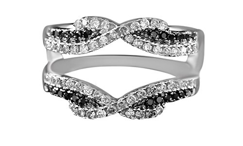 Jewel Zone US Black & White Natural Diamonds Solitaire Engagement Enhancer Ring in 10k Solid White Gold (1/2 Ct) ()