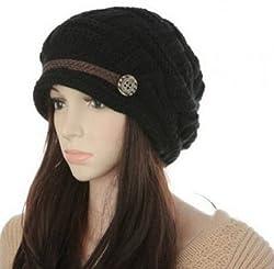 Girls Ladies Winter Knit Cap Hat Skullies Beanies Berets Casual Weave Belt(Black)