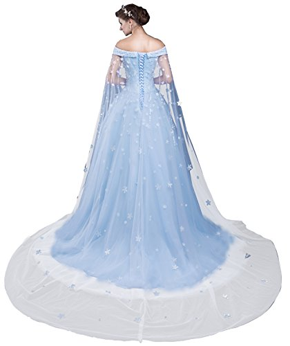 Zechun Womens Off Shoulder Flower Bridal Capes Wedding Dresses Quinceanera Prom Gown With Tulle Cloak at Amazon Womens Clothing store: