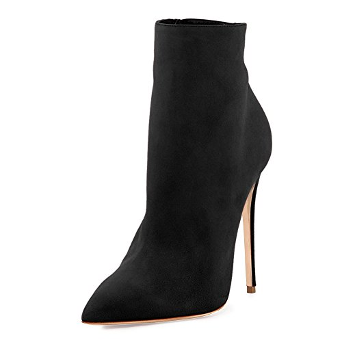 Pure Zipper Black Heels Dress Boots Women's Pom High Side Onlymaker Pointed Toe Ankle Booties 87qfOw