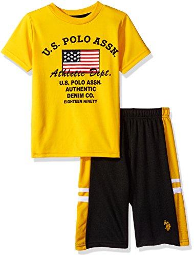U.S. Polo Assn. Boys Interlock Graphic T-Shirt with Close Hole Mesh Sport Short