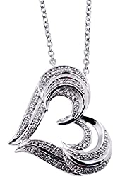 Twin Heart White Diamond Pendant Necklace in Sterling Silver (0.20 Carat)