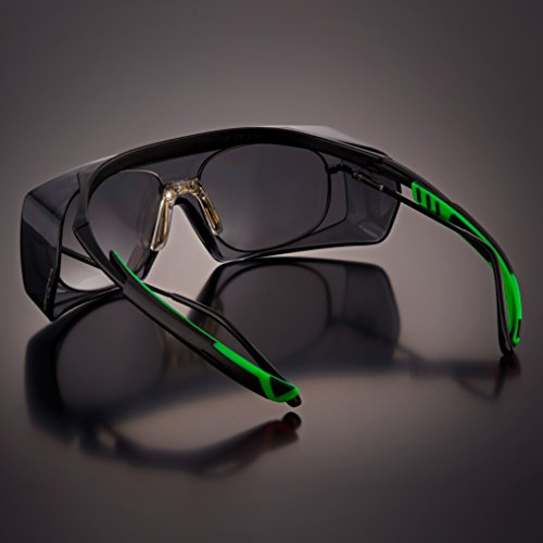 NoCry Tinted Over-Spec Safety Glasses - with Anti-Scratch Wraparound Lenses, Adjustable Arms, and UV400 Protection. ANSI Z87.1 & OSHA Certified by NoCry (Image #7)