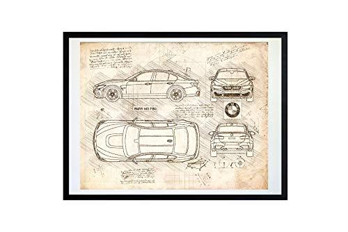 DolanPaperCo #413 BMW M3 F80 (2014) Art Print, da Vinci Sketch - Unframed - Multiple Size/Color Options (17x22, Vintage) (Best Looking Bmw M3)
