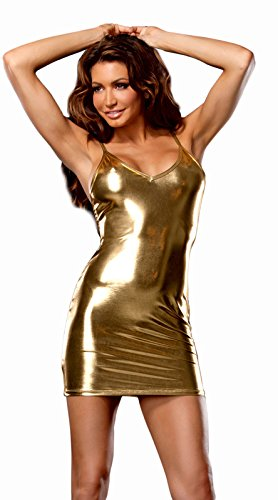8ac01d9c0 Image Unavailable. Image not available for. Colour  Kaamastra Woman s  Golden Wetlook Club Dress ...