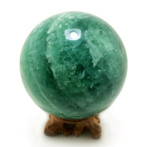 Large Green Fluorite Sphere Ball with Display Wood Stand, 80 mm/3.1 Inch Diameter for Healing Meditation Fengshui Scrying -