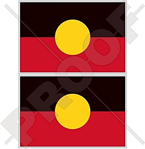 Australien Aboriginal Flagge Australische Aborigines 100mm Auto Motorrad Aufkleber X2 Vinyl Stickers Garten